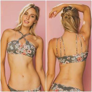 Billabong Soft Olive Floral Strappy Bikini Top